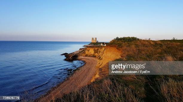 scenic view of sea against clear sky - kent county stock pictures, royalty-free photos & images