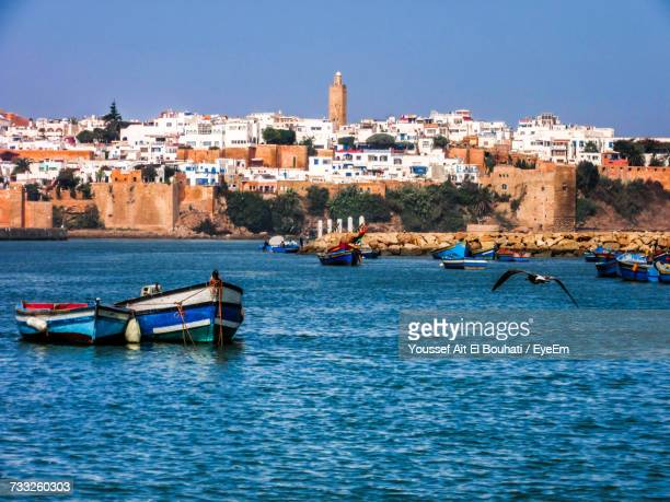 scenic view of sea against clear sky - rabat morocco stock pictures, royalty-free photos & images