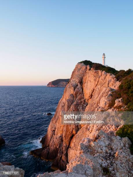scenic view of sea against clear sky - monika gregussova stock pictures, royalty-free photos & images