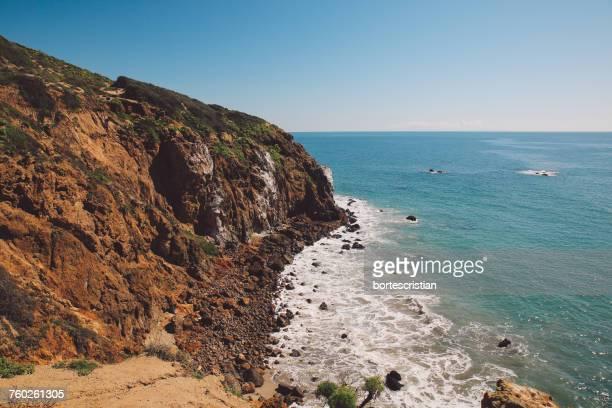 scenic view of sea against clear sky - bortes foto e immagini stock