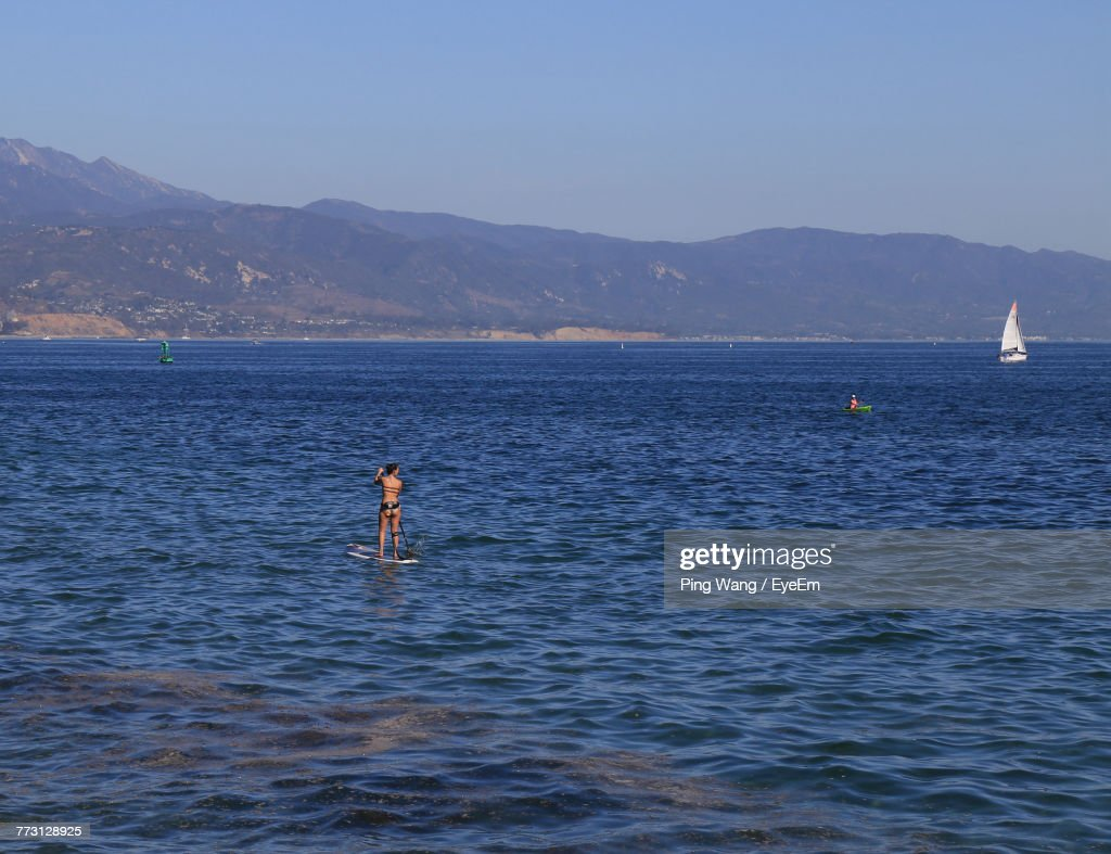 Scenic View Of Sea Against Clear Sky : Photo
