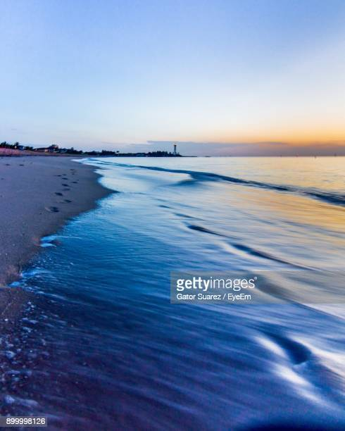 scenic view of sea against clear sky - suarez stock pictures, royalty-free photos & images