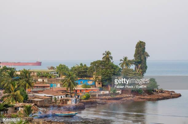 scenic view of sea against clear sky - sierra leone stock pictures, royalty-free photos & images