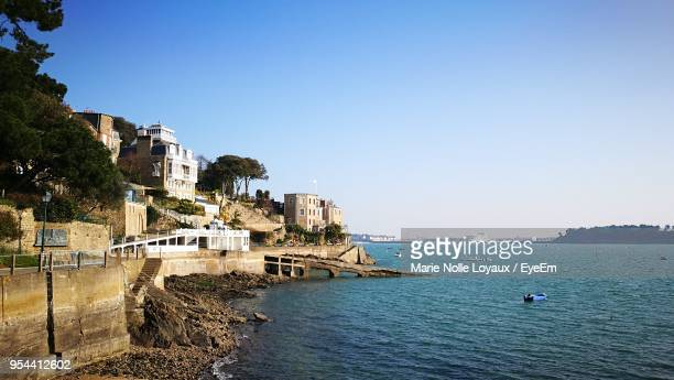 scenic view of sea against clear sky - dinard stock pictures, royalty-free photos & images