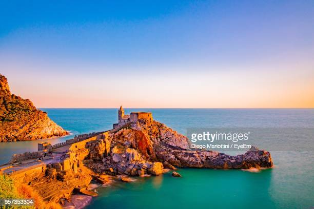 scenic view of sea against clear sky - liguria stock photos and pictures