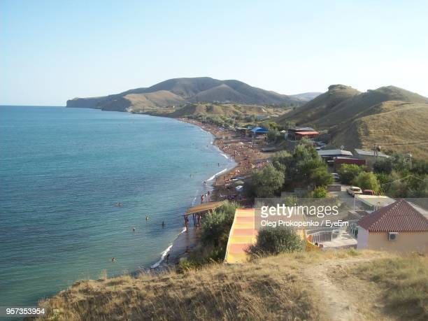 scenic view of sea against clear sky - oleg prokopenko stock pictures, royalty-free photos & images