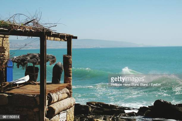scenic view of sea against clear sky - agadir stock pictures, royalty-free photos & images