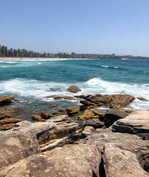 Scenic view of sea against clear sky,Bower St,Manly NSW,Australia