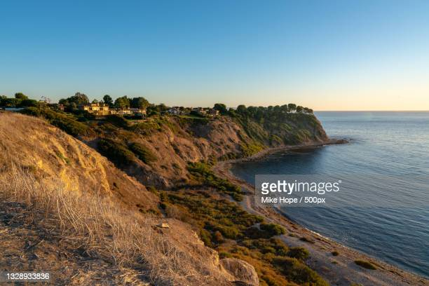 scenic view of sea against clear sky,rancho palos verdes,california,united states,usa - rancho palos verdes stock pictures, royalty-free photos & images