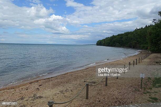 scenic view of sea against cloudy sky - isle of wight stock pictures, royalty-free photos & images