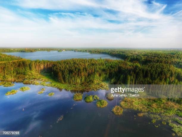 scenic view of sea against cloudy sky - turku finland stock photos and pictures