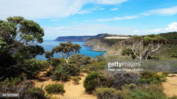 scenic view of sea against cloudy sky - kangaroo island stock pictures, royalty-free photos & images