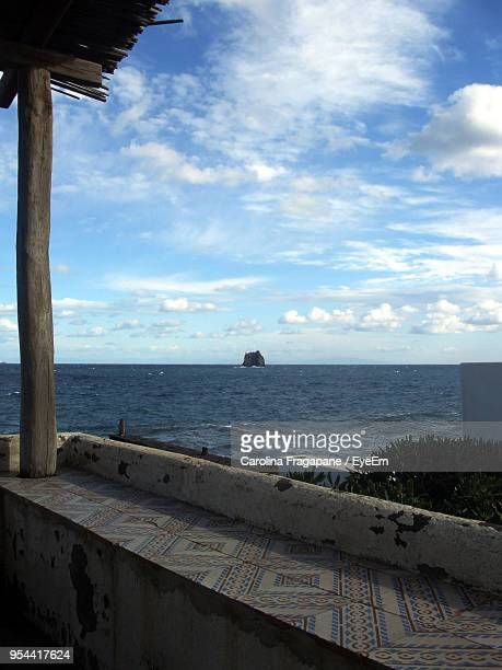 scenic view of sea against cloudy sky - carolina fragapane stock pictures, royalty-free photos & images