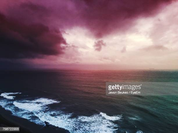 Scenic View Of Sea Against Dramatic Sky