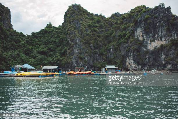 scenic view of sea against mountain - bortes stock photos and pictures