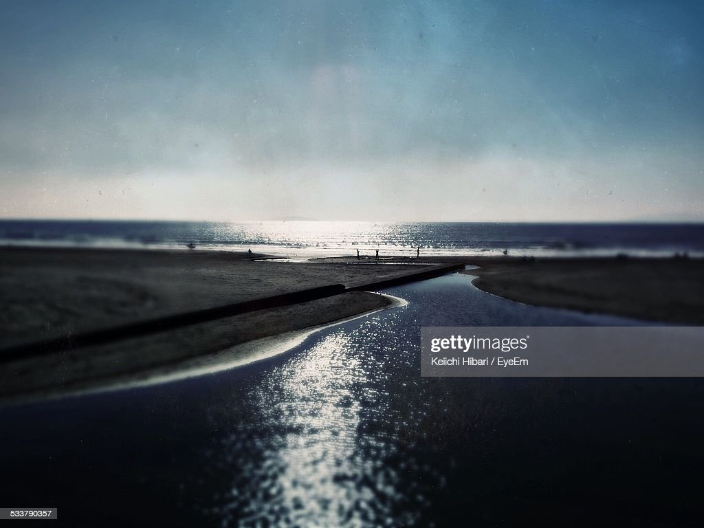 Scenic View Of Sea Against Sky At Dusk : Foto stock