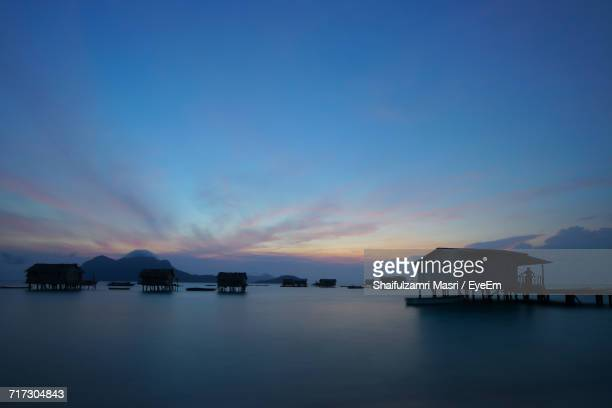 scenic view of sea against sky at dusk - shaifulzamri eyeem stock pictures, royalty-free photos & images