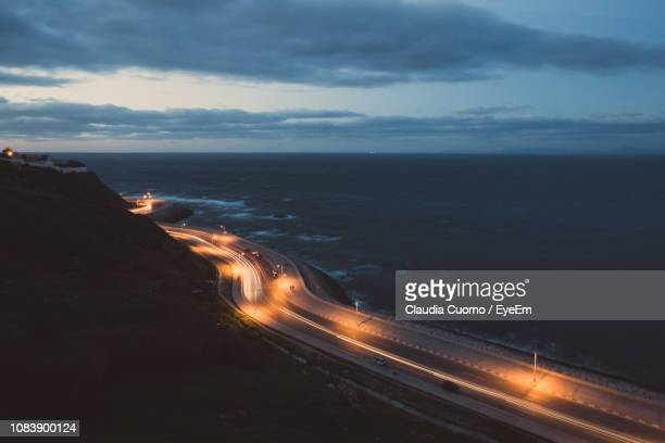 scenic view of sea against sky at night - cuomo stock pictures, royalty-free photos & images