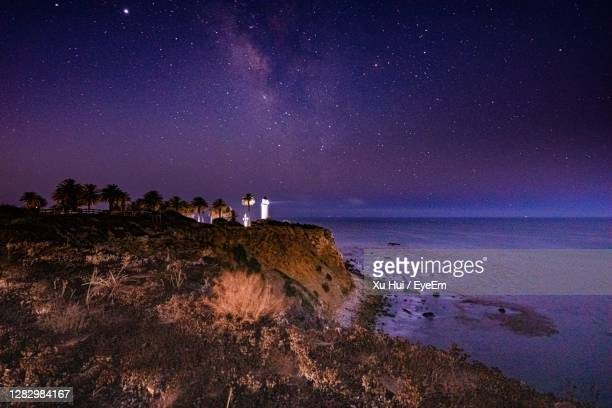 scenic view of sea against sky at night - rancho palos verdes stock pictures, royalty-free photos & images