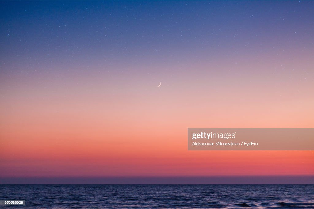 Scenic View Of Sea Against Sky At Night : Stockfoto
