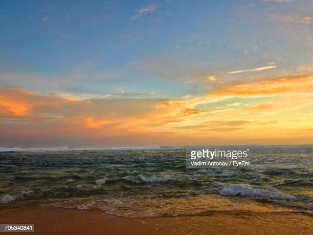 scenic view of sea against sky at sunset - antonov stock pictures, royalty-free photos & images