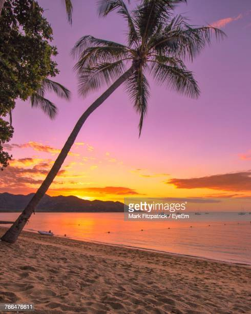 scenic view of sea against sky at sunset - townsville queensland stock pictures, royalty-free photos & images