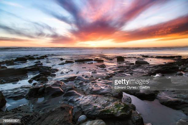scenic view of sea against sky at sunset - santa barbara stock photos and pictures