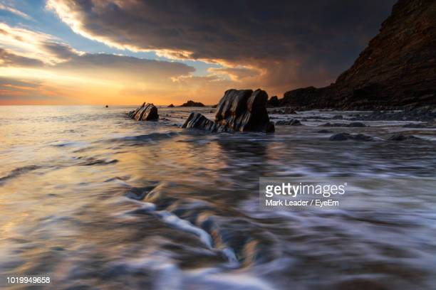 scenic view of sea against sky during sunset - mark's stock pictures, royalty-free photos & images