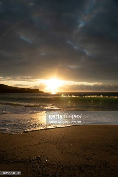 scenic view of sea against sky during sunset - st ives stock pictures, royalty-free photos & images