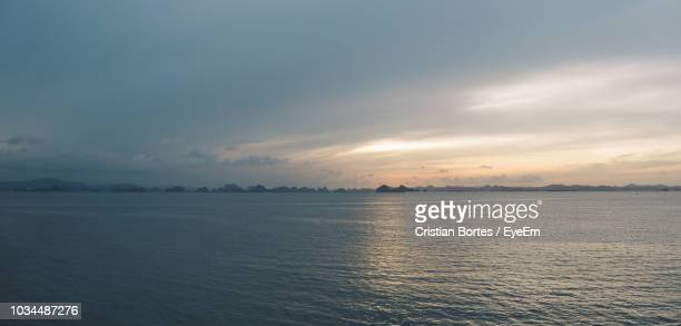 scenic view of sea against sky during sunset - bortes stock pictures, royalty-free photos & images