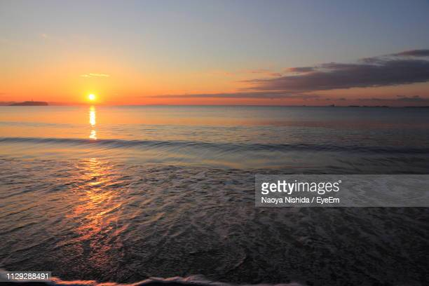 scenic view of sea against sky during sunset - chigasaki stock pictures, royalty-free photos & images