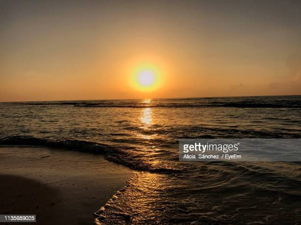 scenic view of sea against sky during sunset - veracruz stock pictures, royalty-free photos & images