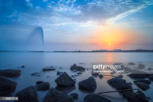 scenic view of sea against sky during sunset - jiddah stock pictures, royalty-free photos & images