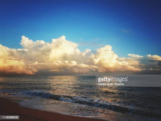 scenic view of sea against sky during sunset - maresme stock photos and pictures