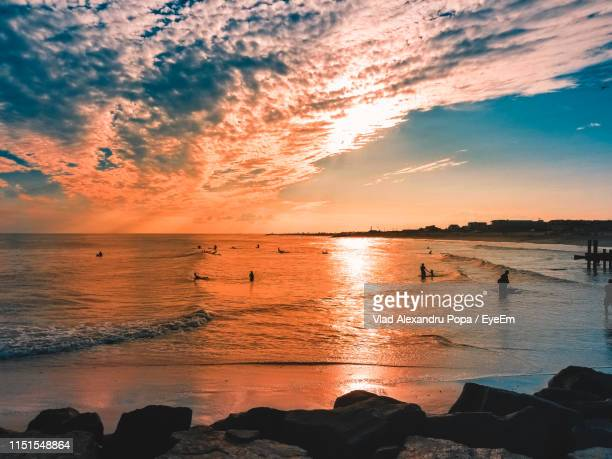 scenic view of sea against sky during sunset - cape may stock pictures, royalty-free photos & images