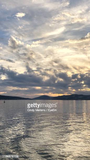 scenic view of sea against sky during sunset - mertens stock pictures, royalty-free photos & images