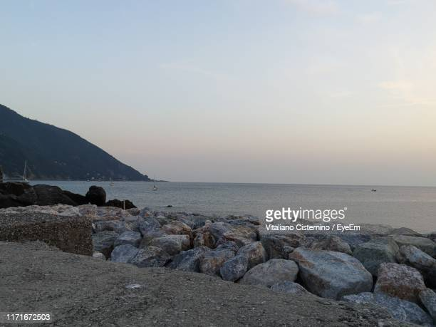 scenic view of sea against sky during sunset - cisternino stock photos and pictures