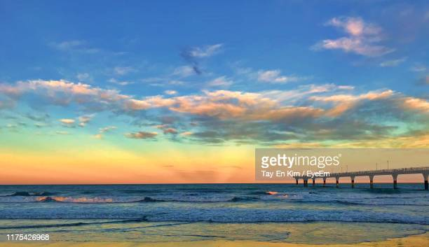 scenic view of sea against sky during sunset - canterbury region new zealand stock pictures, royalty-free photos & images