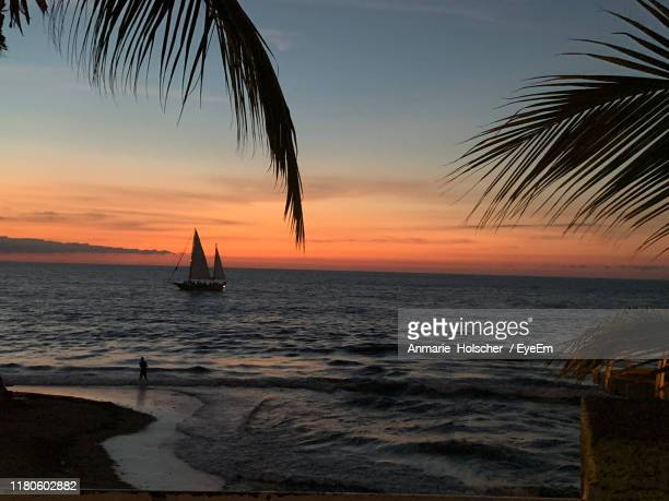 scenic view of sea against sky during sunset - jalisco state stock pictures, royalty-free photos & images