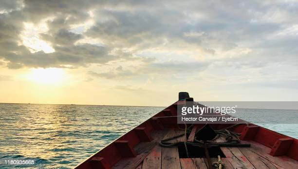 scenic view of sea against sky during sunset - carvajal stock photos and pictures