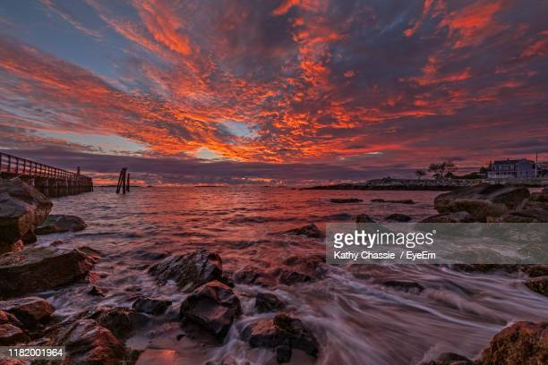 scenic view of sea against sky during sunset - salem massachusetts stock pictures, royalty-free photos & images