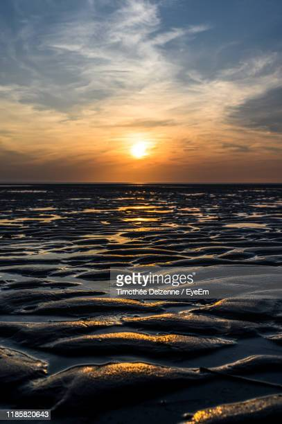 scenic view of sea against sky during sunset - le touquet paris plage stock pictures, royalty-free photos & images