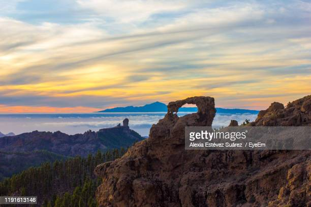 scenic view of sea against sky during sunset - tejeda stock pictures, royalty-free photos & images
