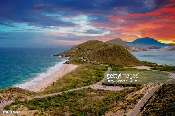 scenic view of sea against sky during sunset - west indies stock pictures, royalty-free photos & images