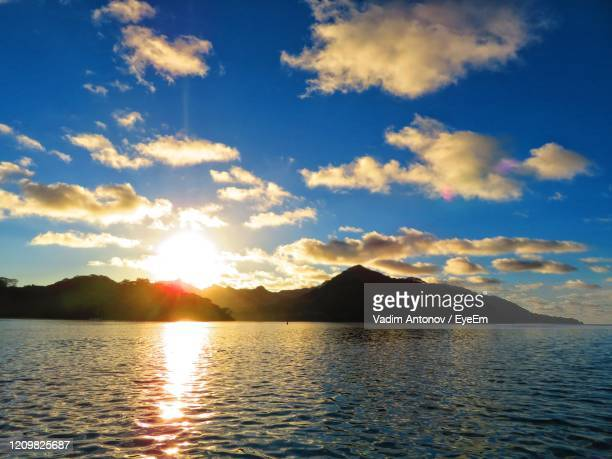 scenic view of sea against sky during sunset - antonov stock pictures, royalty-free photos & images