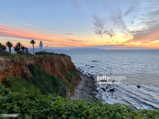 scenic view of sea against sky during sunset - rancho palos verdes stock pictures, royalty-free photos & images