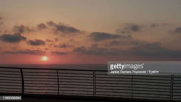 scenic view of sea against sky during sunset - netanya stock pictures, royalty-free photos & images
