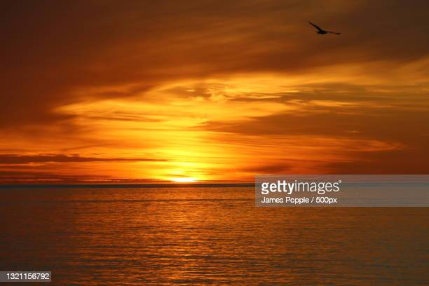 scenic view of sea against sky during sunset - james popple foto e immagini stock