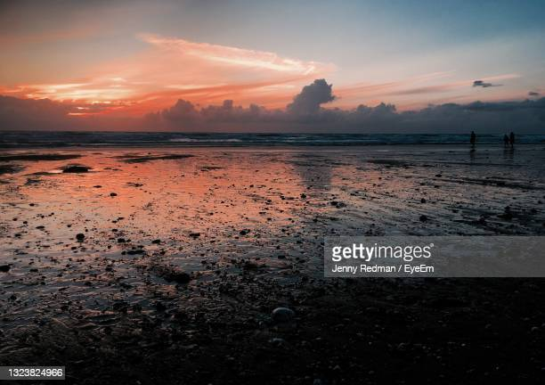 scenic view of sea against sky during sunset - truro cornwall stock pictures, royalty-free photos & images