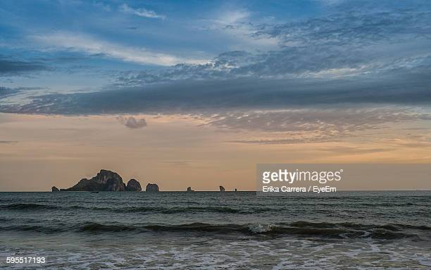 scenic view of sea against sky during sunset - asia carrera stock photos and pictures